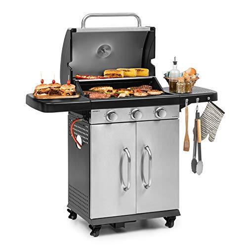 Klarstein Gazooka 3.0T Gas BBQ Grill - einklappbare Seitenteile, 3x3kW Edelstahlbrenner, InstantReady Concept, 5mm-Rost, Edelstahldeckel, SNAP-Jet Ignition-System, 4 Rollen, Bremsen, Edelstahl