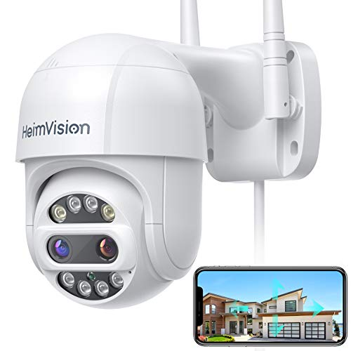 [Dual-Lens, 12X Zoom] HeimVision PTZ Security Camera Outdoor, 2x2MP Ultra HD, 360°View, Pan/Tilt/12X Zoom, Wi-Fi Camera with Floodlights and Siren, Color Night Vision, Weatherproof