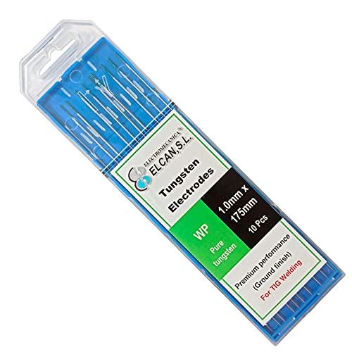 ELCAN Tungstenos soldadura TIG Puro Verde WP profesional, electrodos soldadura para torcha TIG de 1,0 1,6 2,0 2,4 3,2 mm, 10 unidades - Dimensiones: 1,0 x 175 mm