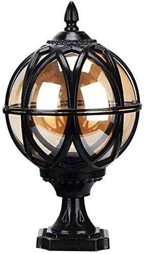 AXWT Faros de Columna a Prueba de Lluvia externos Tradicional Prueba de Agua al Aire Libre Faros Columna Faros Columna de Vidrio de Aluminio Globo Linterna lámpara de alumbrado público Chalet,Black
