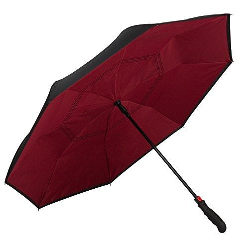 VON LILIENFELD Regenschirm Automatik Damen Herren Autofahrer Inverted Double-Layer Remy Bordeaux/Burgunderrot