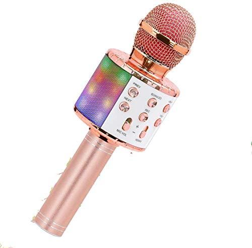 JINGBU Micrófono inalámbrico de karaoke Bluetooth portátil altavoz para el hogar KTV reproductor con luces LED de baile función de grabación para niños oro rosa