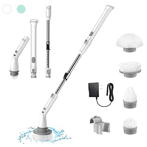 Electric Spin Scrubber, Cordless Shower Scrubber, Electric Bathroom Scrubber Shower Cleaning Brush with 4 Replaceable Brush Heads and Adjustable Extension Handle for Tile, Floor, Bathtub (White)