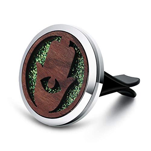 Preisvergleich Produktbild Aromatherapie-Anhänger Vintage Holz Leben Aroma Auto Lufterfrischer Edelstahl Parfüm Medaillon Ätherisches Öl Diffusor Abnehmbarer Clip Jewelry-7