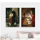 Famoso cuadro medieval Venus y Adonis Cuadro colgante Póster Impresión en lienzo Pintura Arte de la pared Sala de estar Decoración del hogar-50x70 cm x2 Sin marco