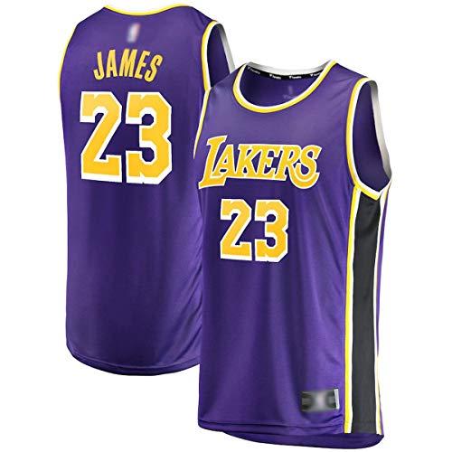FTING Ropa de baloncesto personalizada LeBron Lakers NO.23 Púrpura, Los Angeles James 2018/19 Fast Break Jersey camisas para hombres- Declaración Edición