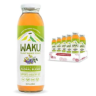 Waku Iced Tea - Unsweetened Floral Blend - All Natural Herbal Tea Brewed With Mint, Lemon Balm, Lemongrass, Fennel, Chamomile - Gut Health Support, Immunity Support - 12 Pack 10oz Bottles