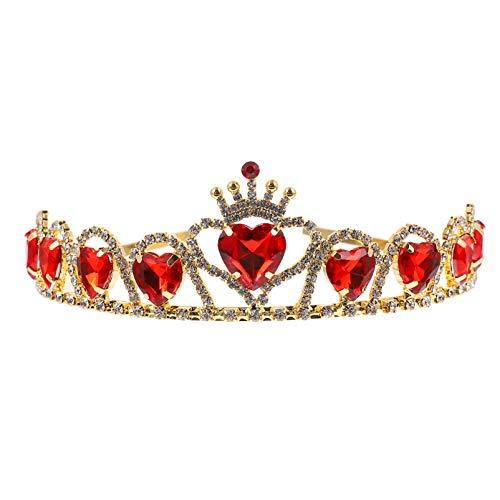 SOLUSTRE Tiara de coração vermelho Descendentes Rainha de Copas Coroa de Casamento, Coroa de Coroa para Noivas, Meninas e Adolescentes
