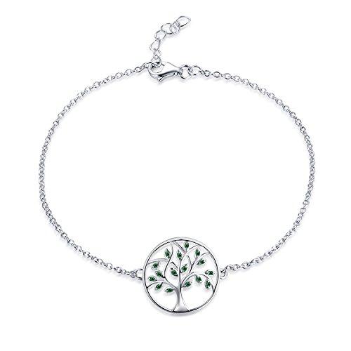 JO WISDOM Pulsera árbol de la vida plata 925 mujer con circonita cúbica AAA (color esmeralda)