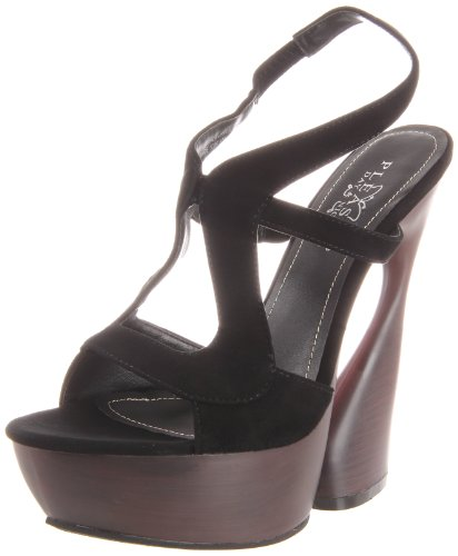Pleaser Day & Night SWAN-657 Damen Plateau Sandalette, Blk Suede, 35