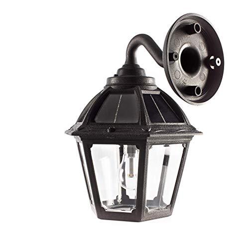 GAMA SONIC Polaris Solar Porch Wall Sconce Light, Outdoor LED Bulb Lamp, Black (177010)