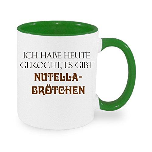 Creativ Deluxe Ich Habe Heute gekocht - es gibt Nutella BRÖTCHEN - Kaffeetasse mit Motiv, Bedruckte Tasse mit Sprüchen oder Bildern