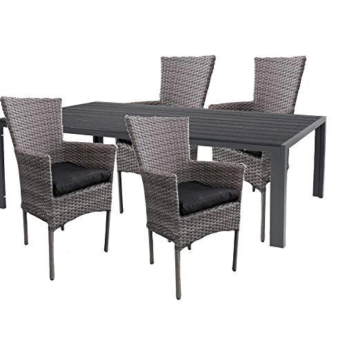 Mojawo hoogwaardige tuinset 5-delig tuintafel 150x90cm antraciet aluminium/polywood zwart + 4 rotanstoelen grijs gemêleerd