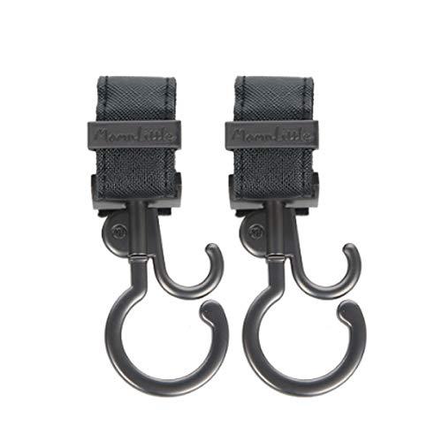 MomnLittle Multi-Purpose 2 Pack Stroller Hooks for Purse & Bags (Black)