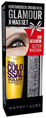 Maybelline New York Augen Make-Up Set Mascara The Colossal Volum' Express brown plus glitzer Top...