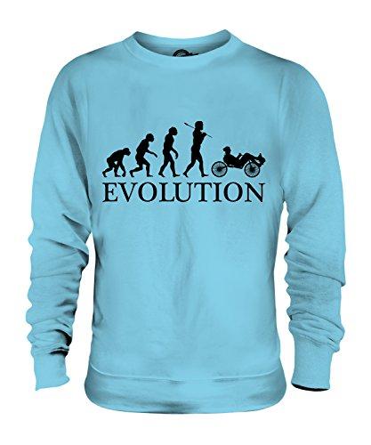 Candymix Liegerad Evolution des Menschen Unisex Herren Damen Sweatshirt, Größe X-Large, Farbe Himmelblau