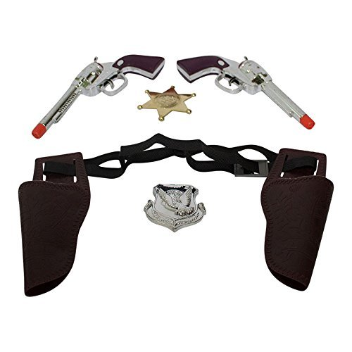 Children's BC Western Cowboy Gun Set Brown and Chrome Colored Finish with Red Bandanna, and Silver and Gold Badge 1 of Each Item by Imprints Plus