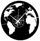 Instant Karma Clocks Orologio in Vinile da Parete Mondo Pianeta Globo Viaggio Terra Planisfero, Vintage, Handmade