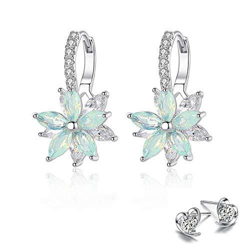 Pendientes mujer Pendientes plata con flor Cubic Zirconia Crystal Clip en pendientes para mujeres niñas Pendientes de circón 3A damas elegantes pendientes (blue 2)