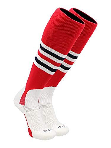 TCK Baseball Stirrup Socks Pattern I (Scarlet/White/Navy, Medium)
