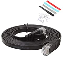 High speed cat6 ethernet cable 5ft, flat and black, 32 AWG, bare copper conductor, fully compliant with UL Code 444 and RoHS. This cat6 ethernet cable standard provides performance up to 250 MHz, rj45 connectors suitable for all kinds of network equi...