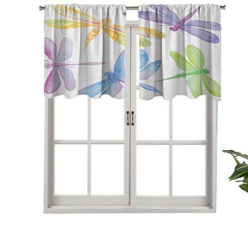 Hiiiman Cenefa de cortina con bolsillo para barra de alta calidad, diseño de insectos alados para niños, juego de 2, 42 x 24 pulgadas para decoración de interiores