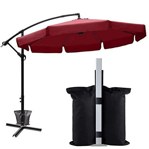 1pcs 600D Oxford Tuch Umbrella Parasol Sandsäcke Fixed Base Patio Camping-Zelt Carport Pavillon im Freien windundurchlässiges Sandbag (Color : Black)