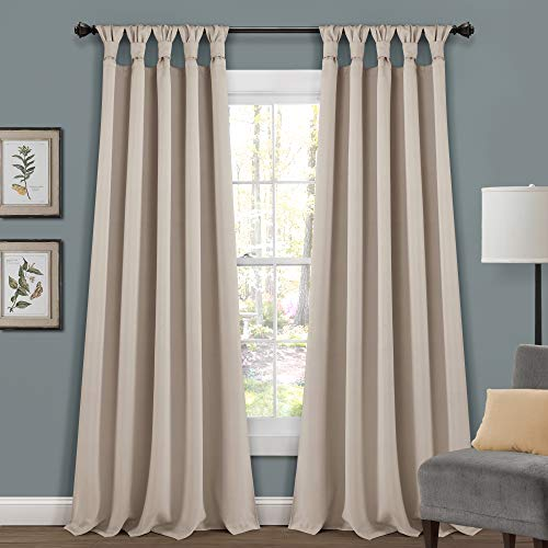 """Lush Decor, Wheat Insulated Knotted Tab Top Blackout Window Curtain Panel Pair, 95"""" x 52"""""""
