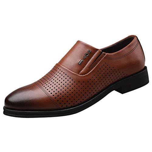HUADUO Zapatos de Vestir de Esmoquin, Zapatos Oxford con Cordones de Cuero Genuino Importado para Hombres, Zapatos de Boda con Punta Puntiaguda, Zapatos de Negocios