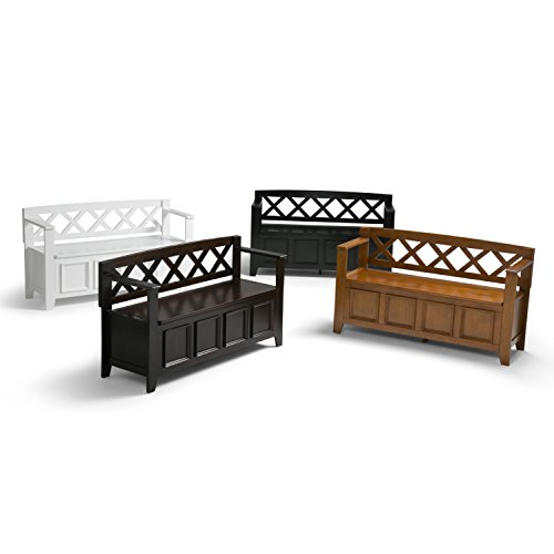 Product Image 7: SIMPLIHOME Amherst SOLID WOOD 48 inch Wide Entryway Storage Bench with Safety Hinge, Multifunctional Transitional inLight Avalon Brown