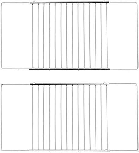 ICQN | Universal-Backofenrost SET Ausziehbar von 37,5-60 cm und 32 cm Tiefe | Backofengitter | Ofengitter | Backgitter Gitterrost für Backofen | Verchromt | Größenverstellbar | Grillrost | Verstellbar