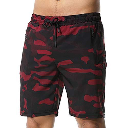 BUZHIDAO Herren Bodybuilding Shorts Basketball Shorts Beachshorts Sommer Training Atmungsaktive Schnell Trocknende Shorts Sprint-Shorts Mit Taschenreißverschluss