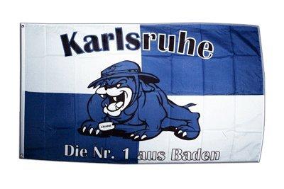 Fahne / Flagge Karlsruhe Bulldogge + gratis Sticker, Flaggenfritze®