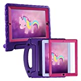 HDE Case for iPad 2 3 4 Kids Shockproof bumper Hard Cover Handle Stand with Built in Screen Protector for Apple iPad 2nd 3rd 4th Generation (Purple Pink)