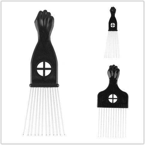 Beauty7 Peigne Brosse Afro Large Dent en Metal Pik Plastique Cheveux Poignee Pour Boucles Coiffure Comb