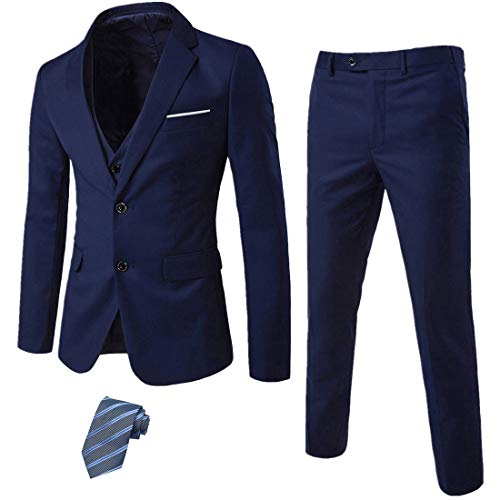 MY'S Men's 3 Piece Slim Fit Suit Se…
