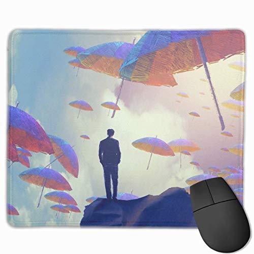 Alfombrilla de ratón para Ordenador portátil, PC, Estampado de Personalidad, Alfombrilla de ratón para Juegos, 25X30 CM (Hombre de pie Entre Paraguas mar)