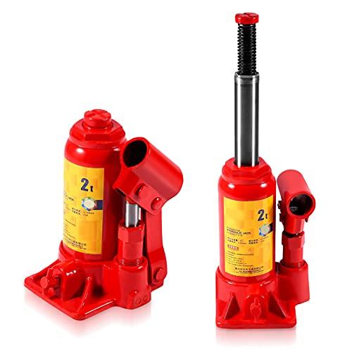 Cric hydraulique 2T - Cric bouteille hydraulique pour van bateau camion caravane - Convient pour soulever et changer les pneus de la plupart des voitures