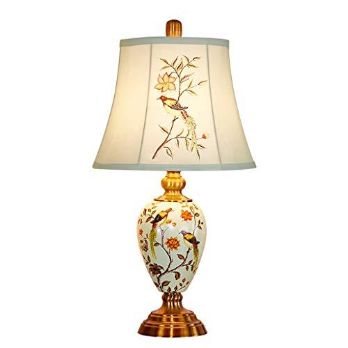 ZLMAY Innenbeleuchtung Blumen-Vogel-Keramik Tischlampe Voll Kupfer Lampen-Körper-Tuch-Abdeckung Tischlampe Handgemalte Dekoration Wohnzimmer Schlafzimmer Nachttischlampe