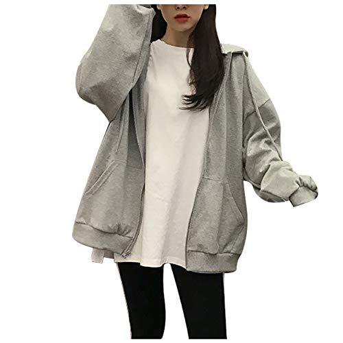 KCOCOO 여성 캐주얼 따뜻한 코트 자켓 오버 사이즈 지퍼 긴 소매 아웃웨어 코트 포켓 까마귀 소프트 운동복 자켓