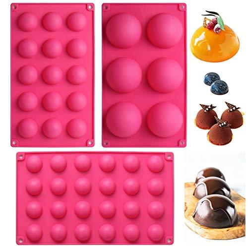 webake Halbkugel Backform Silikonform 3er Set mit 2 Stück Messlöffel für Kuchen Gelee Pudding Süßigkeiten Schokolade 6 Löcher Halbkreis Ø 7 cm 15 Löcher Halbkreis Ø 3.8 cm 24 Löcher Halbkreis Ø 3 cm