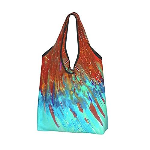 MSINCUDJ Einkaufstaschen für Frauen Wiederverwendbare Falttasche Umhängetaschen Einkaufstüten-Kupfer Patina Landschaft