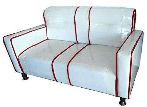 New Space - Divanetto Divano per Bambini Kids in Ecopelle Vintage Bianco Rosso