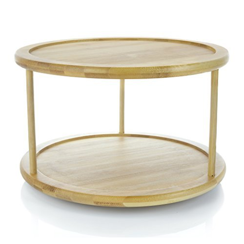 "Adorn Home 2-Tier Premium Bamboo Lazy Susan | Lazy Susan Turntable | Lazy Susan Spice Rack | Kitchen Cabinet Organizer | Vanity Makeup Organizer | 12"" Turntable 