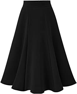 Womens Vintage Pleated Skirts High Waisted A-Line Swing Midi Skirt Elastic Flared Stretchy Below Knee Skirt