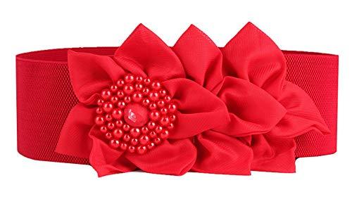 Nanxson Damas Retro Elástico Ancho Perla Flores Obi Cinturón PDW0050 (L, Rojo)