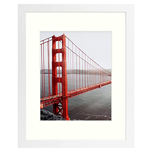 Frametory, 11x14 White Picture Frame - Made to Display Pictures 8x10 with Mat or 11x14 Without Mat - Wide Molding - Pre-Installed Wall Mounting Hardware (White)