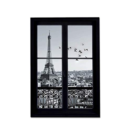 Vosarea - Adhesivos de pared 3D con ventana Eiffel Tower París Ciudad extraíble Wall Stickers Art Decor Pegatinas de vinilo Kids Child Room Mural