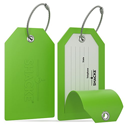 Shacke Luggage Tags with Full Back Privacy Cover w/Steel Loops - Set of 2 (Green)