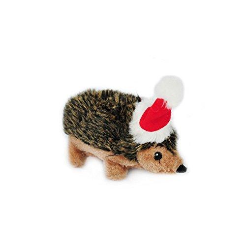 ZippyPaws - Holiday Hedgehog Plush Squeaky Dog Toy, Christmas Pet Gift - Small